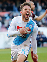 Dries Mertens celebrates after scoring during the  italian serie a soccer match,between SSC Napoli and Torino       at  the San  Paolo   stadium in Naples  Italy , December 18, 2016