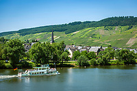 Deutschland, Rheinland-Pfalz, Moseltal, Mosel beim Weinort  Wolf, Stadtteil von Traben-Trarbach | Germany, Rhineland-Palatinate, Moselle Valley with wine villages Wolf, district of Traben-Trarbach