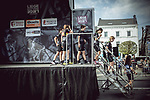 Cyclane Pro Cycling team at sign on before the 2018 Liege-Bastogne-Liege Femmes running 136km from Bastogne to Ans, Belgium. 22nd April 2018.<br /> Picture: ASO/Thomas Maheux | Cyclefile<br /> All photos usage must carry mandatory copyright credit (&copy; Cyclefile | ASO/Thomas Maheux)