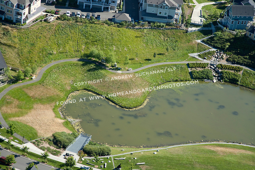 High Point, West Seattle, WA; An aerial view of the stormwater retention pond at High Point, a mixed housing development in West Seattle.
