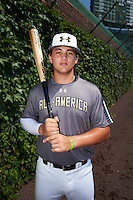 Bo Bichette (19) of Lakewood High School in Tierra Verde, Florida poses for a photo before the Under Armour All-American Game on August 15, 2015 at Wrigley Field in Chicago, Illinois. (Mike Janes/Four Seam Images)