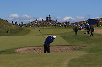 Victor Dubuisson (FRA) plays from a bunker on the 17th fairway during Round 4 of the Betfred British Masters 2019 at Hillside Golf Club, Southport, Lancashire, England. 12/05/19<br /> <br /> Picture: Thos Caffrey / Golffile<br /> <br /> All photos usage must carry mandatory copyright credit (© Golffile | Thos Caffrey)