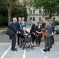 Washington DC, October 8,2019 USA-Plantiffs in the LGBT discrimination case arrive together: Donald Zarda, Aime Stephens, in the wheelchair and A.J Celento. The US Supreme Court heard arguments for and against Lesbian,Gay,Bi-Sexual and Transgender (LGBT) discrimination in Washington DC. Protestors on both sides gathered at the steps of the Supreme Court, after the area was shut down due to an earlier bomb scare, which later reponed <br /> CAP/MPI/PYL<br /> ©PYL/MPI/Capital Pictures