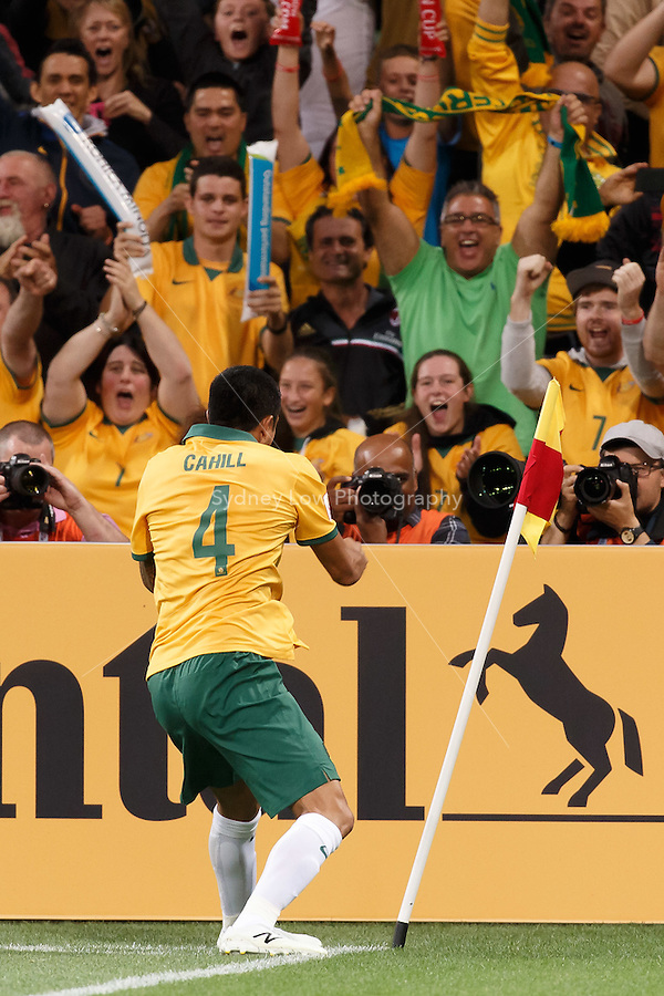 Tim CAHILL of Australia celebrates his goal in match 1 of the 2015 AFC Asian Cup at the Melbourne Rectangular Stadium on 9 January 2015.
