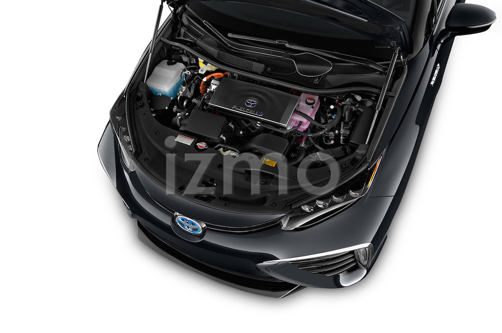 Car Stock 2017 Toyota Mirai Mirai 4 Door Sedan Engine  high angle detail view