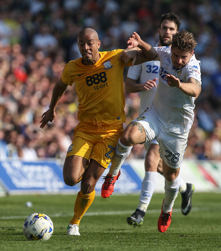 Preston North End's Alex John-Baptiste battles with Leeds United's Gaetano Berardi<br /> <br /> Photographer Alex Dodd/CameraSport<br /> <br /> The EFL Sky Bet Championship - Leeds United v Preston North End - Saturday 8th April 2017 - Elland Road - Leeds<br /> <br /> World Copyright &copy; 2017 CameraSport. All rights reserved. 43 Linden Ave. Countesthorpe. Leicester. England. LE8 5PG - Tel: +44 (0) 116 277 4147 - admin@camerasport.com - www.camerasport.com