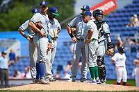 Hartford Yard Goats manager Jerry Weinstein (1) makes a pitching change as Josh Fuentes (13), Anthony Phillips (14), Luis Jean (17), Brian Mundell (15), and Jan Vazquez (6) look on during a game against the Binghamton Rumble Ponies on July 9, 2017 at NYSEG Stadium in Binghamton, New York.  Hartford defeated Binghamton 7-3.  (Mike Janes/Four Seam Images)