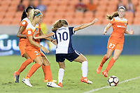 Houston, TX - Saturday July 15, 2017: Rachel Daly and Estefanía Banini during a regular season National Women's Soccer League (NWSL) match between the Houston Dash and the Washington Spirit at BBVA Compass Stadium.