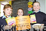 BREAKFAST IS SERVED: Meadhbh Egan, Sarah Donegan and Rebecca Boyd enjoying the ChildLine breakfast at Rathmorrel national school in Causeway on Friday.