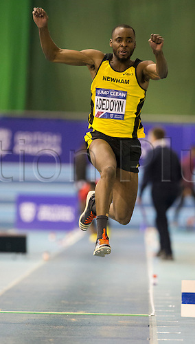 27.02.2016. EIS Sheffield, Sheffield, England. British Indoor Athletics Championships Day One. Kola Adedoyin (Newham EB) competing in the Men's Triple Jump Final.