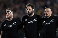 From left, Kieran Read, Sam Whitelock and Sonny Bill Williams sing the national anthem before the Rugby Championship match between the New Zealand All Blacks and South Africa Springboks at QBE Stadium in Albany, Auckland, New Zealand on Saturday, 16 September 2017. Photo: Shane Wenzlick / lintottphoto.co.nz