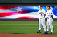 Kyle Shelton #2 and Daniel Wagner #5 of the Winston-Salem Dash during the National Anthem at BB&T Ballpark on May 7, 2011 in Winston-Salem, North Carolina.   Photo by Brian Westerholt / Four Seam Images