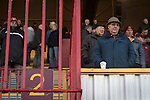 Motherwell 3 Dundee 1, 12/12/2015. Fir Park, Scottish Premiership. Home team supporters in the Phil O'Donnell Stand waiting for the teams to come out at Fir Park, home to Motherwell Football Club, before they played Dundee in a Scottish Premiership fixture. Formed in 1886, the  home side has played at Fir Park since 1895. Motherwell won the match by three goals to one, watched by a crowd of 3512 spectators. Photo by Colin McPherson.
