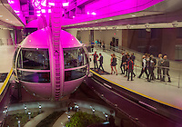 Las Vegas, Nevada.  Passengers Boarding High Roller Gondola for the 30-minute Ride.  As of 2015 the High Roller is the tallest observation wheel in the world.