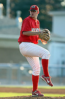 August 3rd 2008:  Pitcher George Brown of the Batavia Muckdogs, Class-A affiliate of the St. Louis Cardinals, during a game at Dwyer Stadium in Batavia, NY.  Photo by:  Mike Janes/Four Seam Images