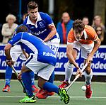 UTRECHT - Florian Fuchs (Bldaal)  met links Sjoerd de Wert (Kampong) en Sander de Wijn (Kampong)  tijdens de hockey hoofdklasse competitiewedstrijd heren:  Kampong-Bloemendaal (3-3).   COPYRIGHT KOEN SUYK