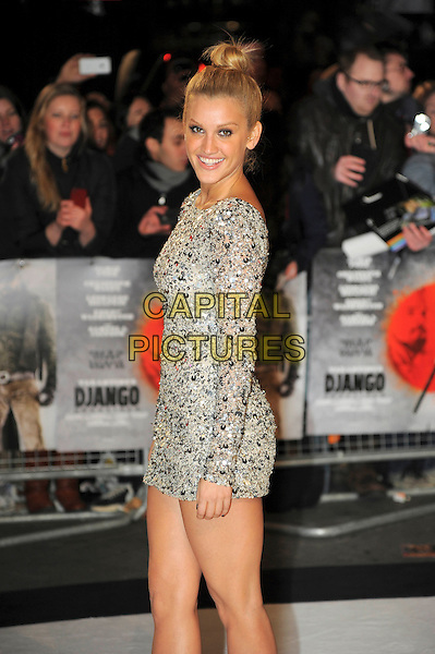 Ashley Roberts.'Django Unchained' UK premiere held at the Empire Leicester Square , London, England, United Kingdom, .January 10th 2013..half length silver mirrored long sleeve mini dress sparkly sequined sequin side hair up bun top knot .CAP/CAS.©Bob Cass/Capital Pictures.