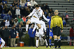 25 October 2013: Wake Forest's Ian Harkes (16) heads the ball. The Duke University Blue Devils hosted the Wake Forest University Demon Deacons at Koskinen Stadium in Durham, NC in a 2013 NCAA Division I Men's Soccer match. The game ended in a 2-2 tie after two overtimes.
