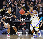 SIOUX FALLS, SD - MARCH 7:  Alexis Alexander #1 of South Dakota State catches the ball as defender Marissa Preston #14 of Omaha looks on in the 2016 Summit League Tournament. (Photo by Dick Carlson/Inertia)