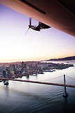 USA, California, San Francisco, View of San Francisco and the San Francisco Bay from the Airship Ventures Zeppelin, Bay Bridge