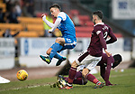 St Johnstone v Hearts&hellip;23.12.17&hellip;  McDiarmid Park&hellip;  SPFL<br />Stefan Scougall is stopped by Prince Buaben and Michael Smith<br />Picture by Graeme Hart. <br />Copyright Perthshire Picture Agency<br />Tel: 01738 623350  Mobile: 07990 594431