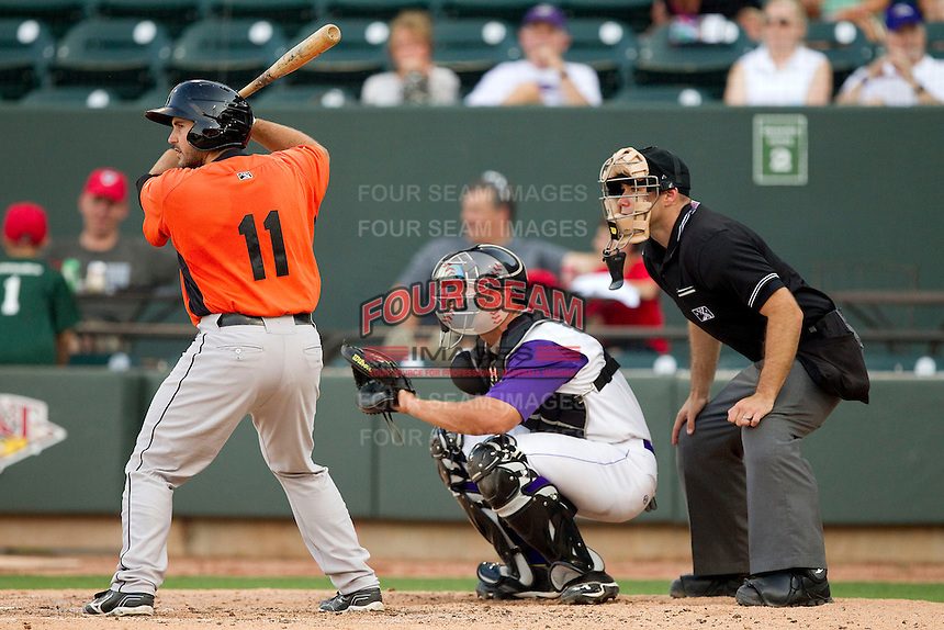Allan de San Miguel (11) of the Frederick Keys at bat as Winston-Salem Dash catcher Kevan Smith (24) sets a target and home plate umpire Morgan Day looks on at BB&T Ballpark on May 28, 2013 in Winston-Salem, North Carolina.  The Dash defeated the Keys 17-5 in the first game of a double-header.  (Brian Westerholt/Four Seam Images)