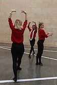London, UK. 25 April 2016. Pictured:  Rosalie Wahlfrid, Luke Crook and Emilia Gasiorek. The Tate Britain Commission 2016 Pablo Bronstein: Historical Dances in an Antique Setting opens at the Duveen Galleries of Tate Britain on 26 April and runs until 9 October 2016. The commission features a continuous live performance by three dancers created by Pablo Bronstein. The annual Tate Britain Commission is supported by Sotheby's which invites artists to create a new large-scale work in response to the neo-classical Duveen Galleries at Tate Britain. Entrance is free.