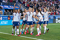 HARRISON, NJ - MARCH 08: Julie Ertz #8 of the United States celebrates with Crystal Dunn #19, Lindsey Horan #9 and Tobin Heath #17 during a game between Spain and USWNT at Red Bull Arena on March 08, 2020 in Harrison, New Jersey.