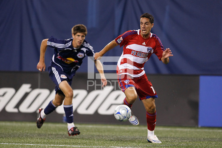 FC Dallas midfielder Andre Rocha (11) and New York Red Bulls defender Andrew Boyens (27). The New York Red Bulls defeated FC Dallas 1-0 during a Major League Soccer match at Giants Stadium in East Rutherford, NJ, on June 21, 2008.