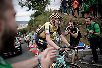 Robert Gesink (NED/Jumbo - Visma) up the brutal (last climb) Alto de Arraiz (up to 25% gradients!), 7km from the finish <br /> <br /> Stage 12: Circuito de Navarra to Bilbao (171km)<br /> La Vuelta 2019<br /> <br /> ©kramon
