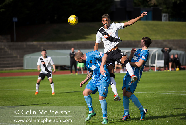 Edinburgh City's Ousman See on the attack in the second half of their SPFL2 match against Berwick Rangers. The visitors struck back with two late goals to secure victory at Meadowbank. Despite taking the lead in the 66th minute through Ousman See's goal, City lost the game 2-1, watched by a crowd of 410 and remained without a point at the foot of the table after four League games.