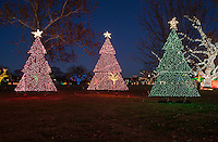 Zilker Park Trail of Lights Festival's three Christmas Trees are Christmas Card Perfect with room for ad copy text
