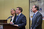 Uniondale, New York, USA. January 30, 2017. At left, Nassau County Legislator LAURA CURRAN (D-Baldwin), 48, candidate for Nassau County Executive, receives endorsement from Democratic Party leaders. A primary is expected. JACK SCHNIRMAN, speaking, received endorsement for County Comproller. At right, JAY S. JACOBS, N. C. Democratic Committee Chairman, made the announcements backing the candidates. Curran is in her second term as Nassau County Legislator for 5th Legislative District.
