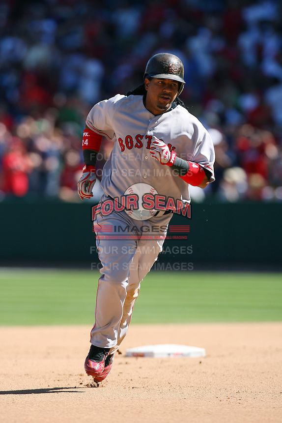 Manny Ramirez of the Boston Red Sox during a game against the Los Angeles Angels in a 2007 MLB season game at Angel Stadium in Anaheim, California. (Larry Goren/Four Seam Images)