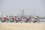 Team Katusha Alpecin motor along during Stage 1 of the 2019 UAE Tour, a team time trial running 16km around Al Hudayriat Island, Abu Dhabi, United Arab Emirates. 24th February 2019.<br /> Picture: LaPresse/Fabio Ferrari | Cyclefile<br /> <br /> <br /> All photos usage must carry mandatory copyright credit (© Cyclefile | LaPresse/Fabio Ferrari)