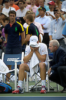 September 5, 2012: Andy Roddick (USA) who announced his retirement to professional tennis, says farewell after his loss to Juan Martin Del Potro (ARG) during their quarterfinal Men's Singles match on Day 10 of the 2012 U.S. Open Tennis Championships at the USTA Billie Jean King National Tennis Center in Flushing, Queens, New York, USA. Credit: mpi105/MediaPunch Inc.