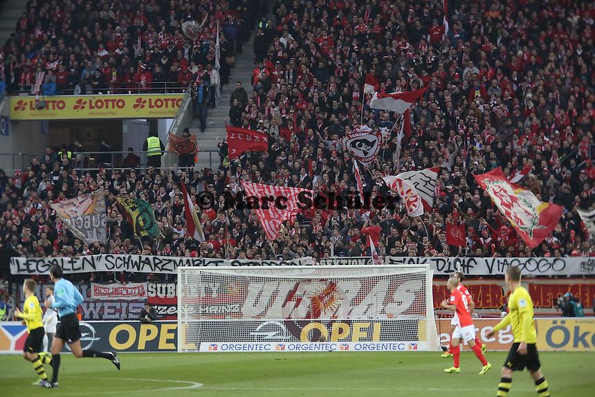 Mainzer Fans protestieren gegen Viagogo- 1. FSV Mainz 05 vs. Borussia Dortmund, Coface Arena, 14. Spieltag