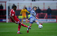Accrington Stanley's Sadou Diallo under pressure from Lincoln City's Jorge Grant<br /> <br /> Photographer Andrew Vaughan/CameraSport<br /> <br /> The EFL Sky Bet League One - Accrington Stanley v Lincoln City - Saturday 15th February 2020 - Crown Ground - Accrington<br /> <br /> World Copyright © 2020 CameraSport. All rights reserved. 43 Linden Ave. Countesthorpe. Leicester. England. LE8 5PG - Tel: +44 (0) 116 277 4147 - admin@camerasport.com - www.camerasport.com