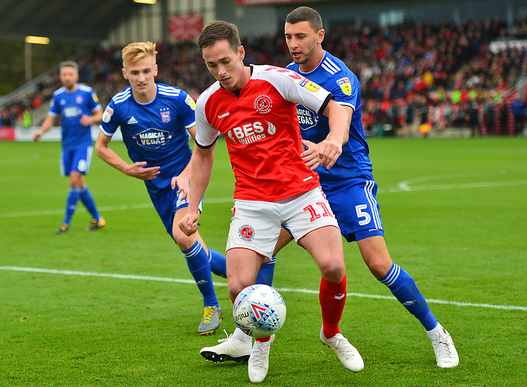 Fleetwood Town's Josh Morris vies for possession with Ipswich Town's James Wilson<br /> <br /> Photographer Richard Martin-Roberts/CameraSport<br /> <br /> The EFL Sky Bet League One - Fleetwood Town v Ipswich Town - Saturday 5th October 2019 - Highbury Stadium - Fleetwood<br /> <br /> World Copyright © 2019 CameraSport. All rights reserved. 43 Linden Ave. Countesthorpe. Leicester. England. LE8 5PG - Tel: +44 (0) 116 277 4147 - admin@camerasport.com - www.camerasport.com