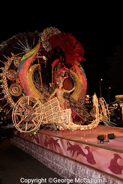 Carnival queen candidate at Carnival of Santa Cruz de Tenerife, Canary Islands, Spain