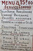 Europe/Europe/France/Midi-Pyrénées/46/Lot/Padirac: Ancien menu  du restaurant du Gouffre , années 80