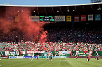 Portland, OR - Saturday September 02, 2017: Portland Thorns FC fans celebrate during a regular season National Women's Soccer League (NWSL) match between the Portland Thorns FC and the Washington Spirit at Providence Park.