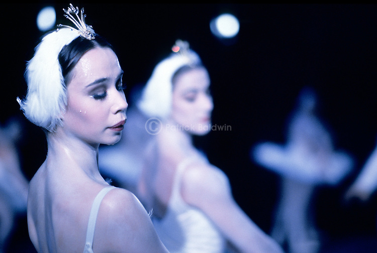 English National Ballet dancer Abigail Cohen perspiring during a performance of Swan Lake