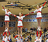 The Smithtown East varsity cheerleaders perform during a competition held at Hauppauge High School on Saturday, Jan. 21, 2017.