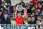 Dan O'Donoghue, East Kerry captain lifts the Bishop Moynihan cup after the Kerry County Senior Club Football Championship Final match between East Kerry and Dr. Crokes at Austin Stack Park in Tralee, Kerry.