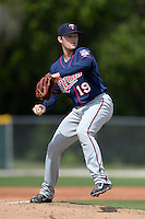 Minnesota Twins pitcher Kohl Stewart (19) during a minor league spring training game against the Baltimore Orioles on March 20, 2014 at the Buck O'Neil Complex in Sarasota, Florida.  (Mike Janes/Four Seam Images)