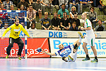 BHCs Rafael Baena Gonzalez (Nr.16) am Kreis  im Spiel der Handballliga, Bergischer HC - SC DHFK Leipzig.<br /> <br /> Foto &copy; PIX-Sportfotos *** Foto ist honorarpflichtig! *** Auf Anfrage in hoeherer Qualitaet/Aufloesung. Belegexemplar erbeten. Veroeffentlichung ausschliesslich fuer journalistisch-publizistische Zwecke. For editorial use only.