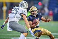 Annapolis, MD - September 8, 2018: Navy Midshipmen quarterback Malcolm Perry (10) makes a move to get bye Memphis Tigers linebacker Austin Hall (25) during game between Memphis and Navy at  Navy-Marine Corps Memorial Stadium in Annapolis, MD. (Photo by Phillip Peters/Media Images International)