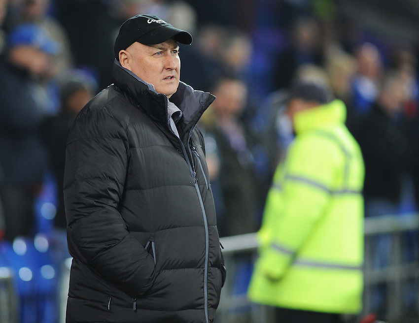 Cardiff City manager Russell Slade before kick-off<br /> <br /> Photographer Kevin Barnes/CameraSport<br /> <br /> Football - The Football League Sky Bet Championship - Cardiff v Bournemouth - Tuesday 17th March 2015 - Cardiff City Stadium - Cardiff<br /> <br /> &copy; CameraSport - 43 Linden Ave. Countesthorpe. Leicester. England. LE8 5PG - Tel: +44 (0) 116 277 4147 - admin@camerasport.com - www.camerasport.com