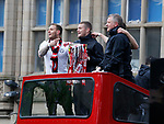 Billy Sharp Paul Coutts and Chris Wilder manager of Sheffield Utd during the open top bus parade from Bramall Lane Stadium to Sheffield Town Hall, Sheffield. Picture date: May 2nd 2017. Pic credit should read: Simon Bellis/Sportimage